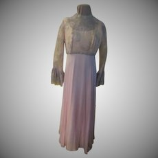 Silver Thread on Pink Chiffon Skirt Dress