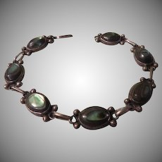 Abalone Cabochon Silver Bracelet - Free shipping