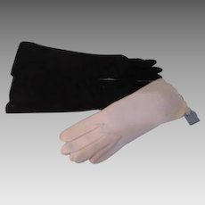 Long Black and White Van Raolte Gloves - b264
