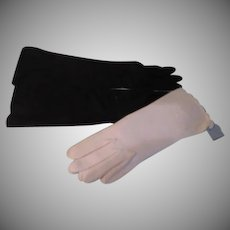 Long Black and White Van Raolte Gloves - b264