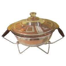Georges Briard Mid-Century Fire King Casserole on Warming Stand - b263