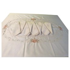 Embroidered Rose Tablecloth and Napkins - L8