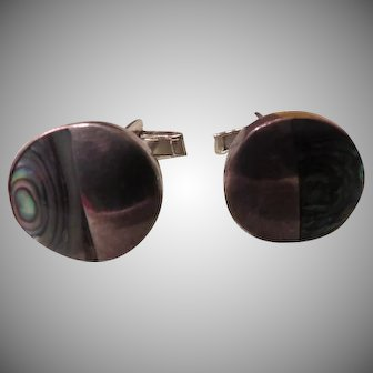 Mexican Silver with Abalone Cufflinks - free shipping