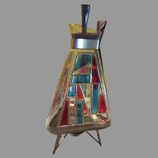 "Mid-Century Inland Glass ""Stained Glass"" Coffee Carafe on Warming Stand -"