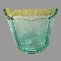 Paden City Peacock and Wild Rose Green Glass Ice Bucket - b263