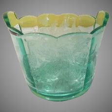 Paden City Peacock and Wild Rose Green Glass Ice Bucket - b263