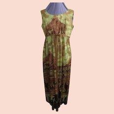 Golden Sunset Hawaiian Print Dress