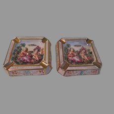 Capodimonte Woman and Cherub Ashtrays - b261