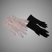Shirred White and Scalloped Black Gloves - b261