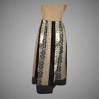 Chessa Davis Black Print Patchwork Skirt