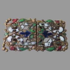 Enamel and Filigree Belt Buckle - Free shipping