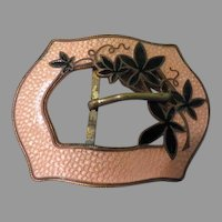 Peach Guilloche Enamel with Flowers Belt Buckle - free shipping