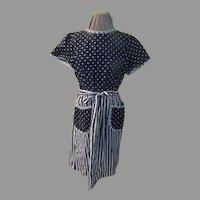 Polka Dots over Stripes Wrap around Dress