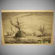 The Battle of Manila Bay, Original Etching by Chas. A. Vanderhoof