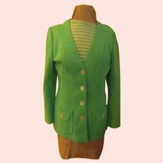 Spring Green Jacket with Stripe Shirt Set