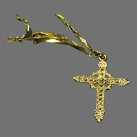 Gold Tone ''1928'' Cross on Chain - Free shipping - br