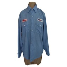 Blue Stripe Mobil Oil Shirt