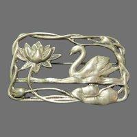 Swan and Lotus Silver Pin - Free shipping - br
