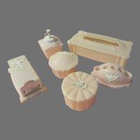 Pastel Pink Plastic Vanity Dresser set - b293