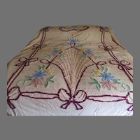 Pink Chenille Flower and Bow Bedspread - l9