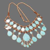 Fancy-Faux Tear Drop Necklace - Free shipping - br