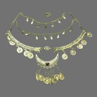 Crescent and Coin Necklace - Free shipping - br