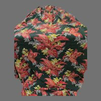 Extra Wide Pink On Hunter Green Barkcloth Drapes - g