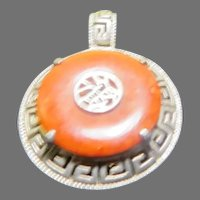 Red Jade Silver Pendant - Free shipping  - br