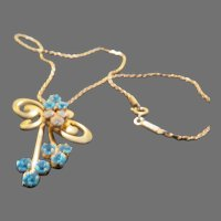Tied in a Bow Aqua and Clear Rhinestone Necklace - Free shipping - br