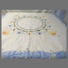 Embroidered Flowers on Blue Border Tablecloth - b296