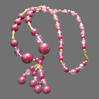 Pink and Burgundy Bead necklace with tassel - Free shipping - br
