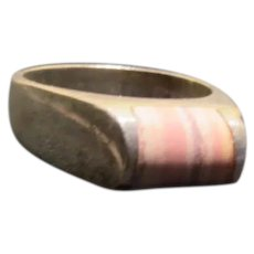 Curved Stone Silver Ring _ Free shipping - br