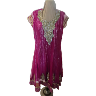 Beaded and Embellished Fuchsia Dress