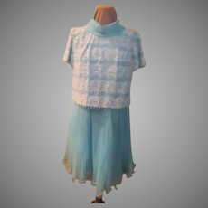 Vision in Blue Chiffon and Beaded Dress