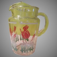 Tulips on Picket Fence Pitcher - b270