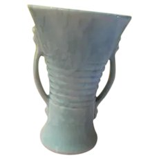 Marbled Brush Aqua Vase with Handles - b273