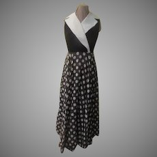 White Wrap Collar Polka Dot Dress