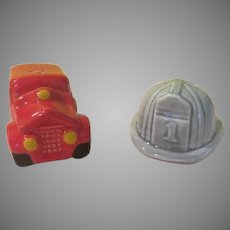 Fire Truck and Chief's Hat Salt and Pepper Shakers - b270