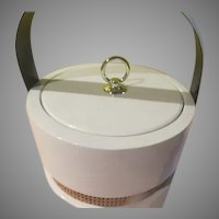 White Patent Ice Bucket with Raffia Accent - b273