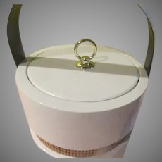 White Patent Ice Bucket with Raffia Accent - b273