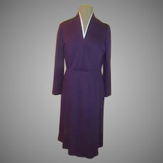 White at the Neck Purple Dress