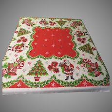 Bells, Santas and Christmas Trees Tablecloth - b279