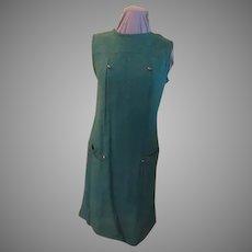 Brassy Button Green Tweed Dress