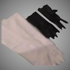 Long White and Short Black Leather Gloves - b261