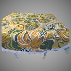Bold Green and Gold Round Tablecloth - l8
