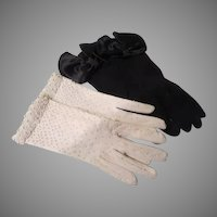 Black Bowed and White Beaded Gloves - b263