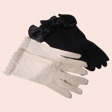 Black Bowed and White Beaded Gloves - b263