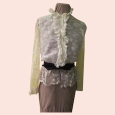 White Lace and Black Bow Belt Blouse