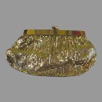 Slinky Gold Mesh Purse/handbag with Hinged Opening - b279
