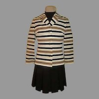 Butte Knit Pleated Dress and Stripe Jacket